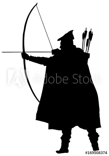 Archer clipart hunter. Vector silhouette illustration isolated