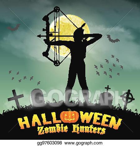 Vector halloween zombie in. Archer clipart hunter