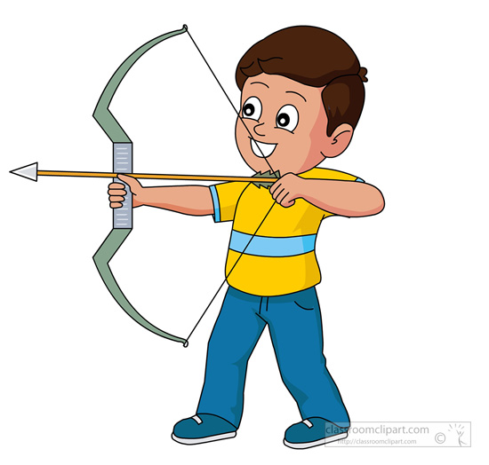 Bow and arrow free. Archer clipart kid