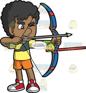 Archery clipart boy. Brown skinned holding a