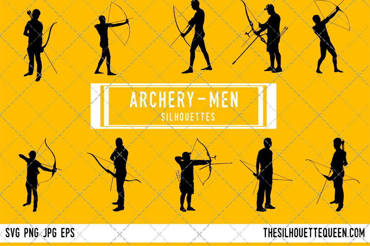 Man silhouette male archer. Archery clipart boy