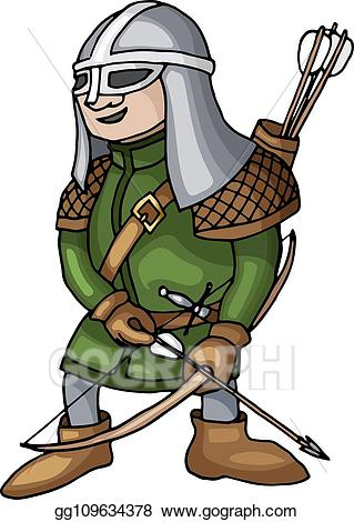 Archer clipart medieval archer. Clip art vector cartoon