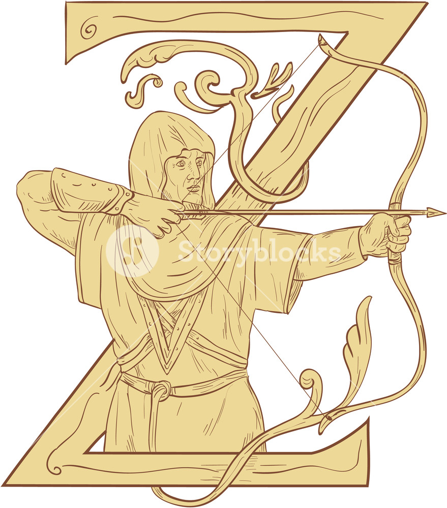 Archery clipart medieval archery. Drawing sketch style illustration