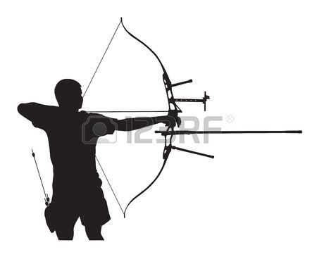 Archer clipart olympic archery. Stock vector bows silhouette