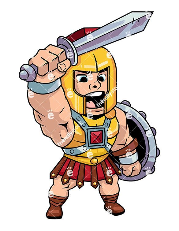 Roman centurion shouting a. Battle clipart cartoon