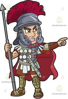 Centurion shouting a battle. Army clipart roman