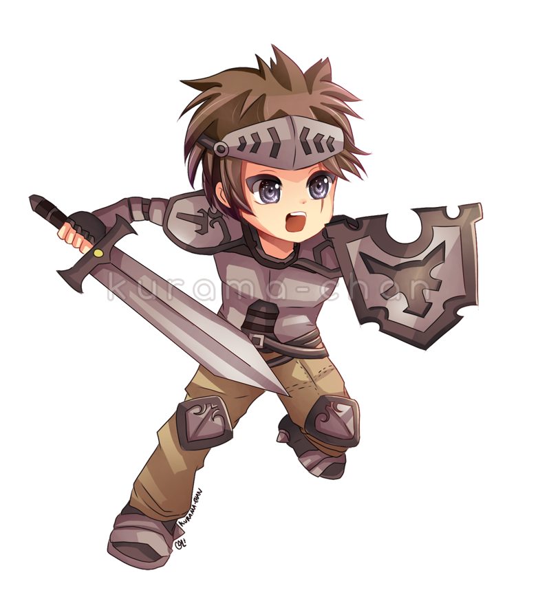 Warrior clipart medieval warrior. Chibi commission for guardianbr