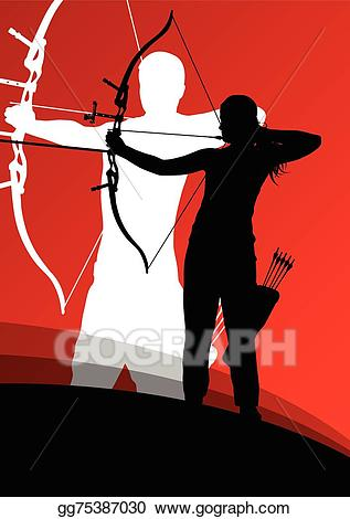 Vector stock active young. Archery clipart abstract
