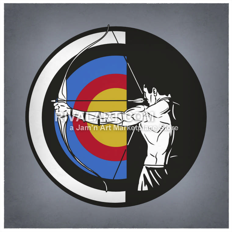 Graphic man shooting bow. Bullseye clipart archery