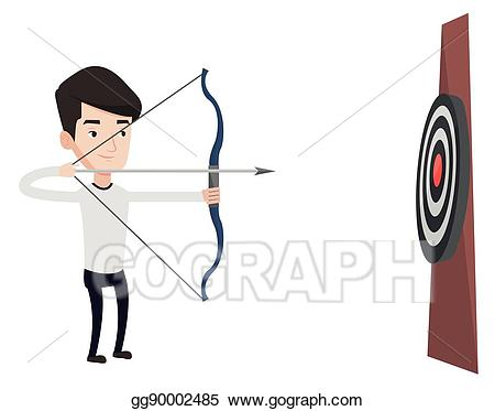 Archery clipart archery competition. Vector illustration bowman aiming