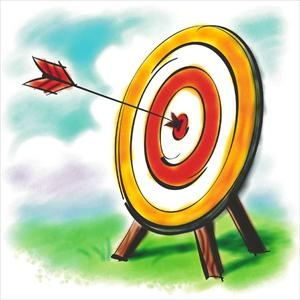 Archery clipart background. Target and arrow going