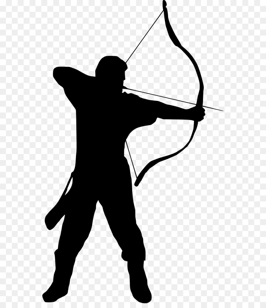 Archery clipart background. Black line silhouette