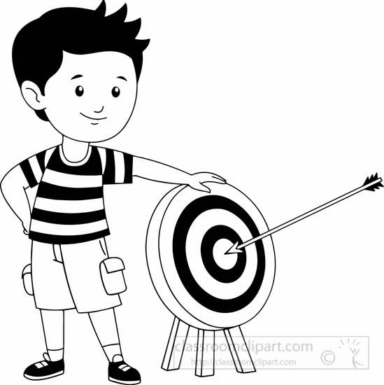 Sports boy standing near. Archery clipart black and white