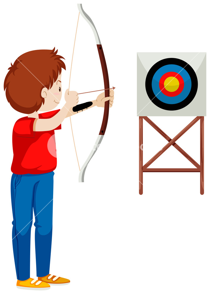 Archery clipart bow target arrow. Man shooting at the