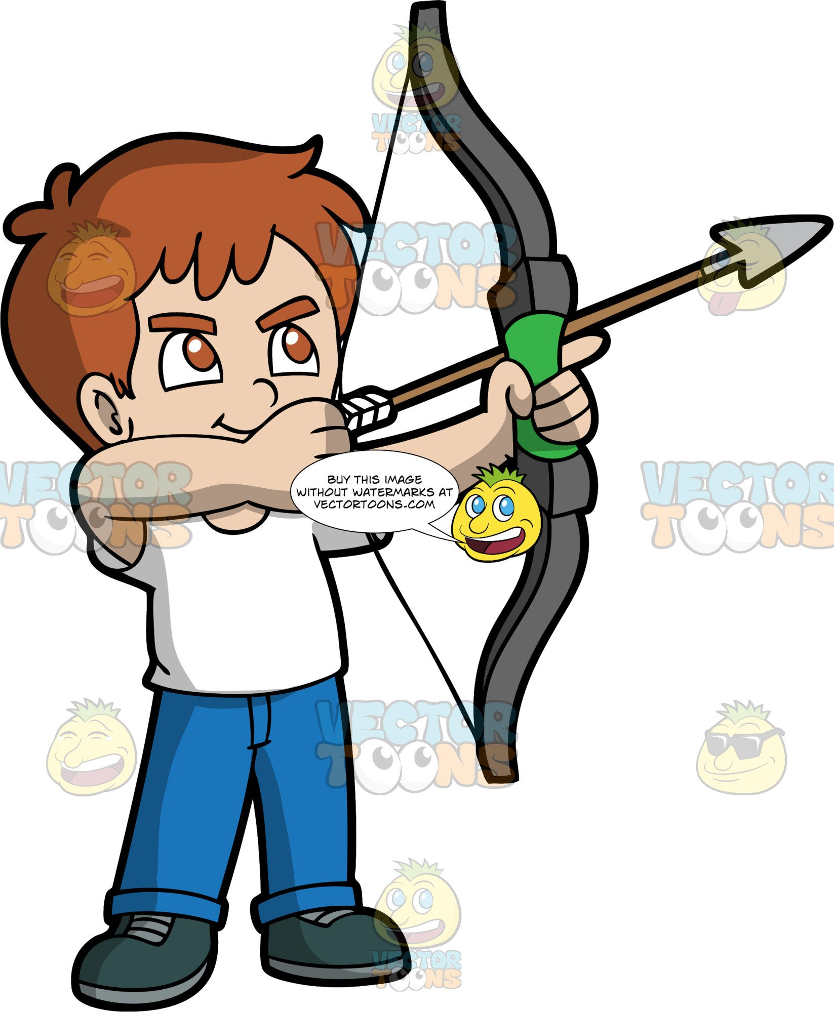 Light skin with brown. Archery clipart boy