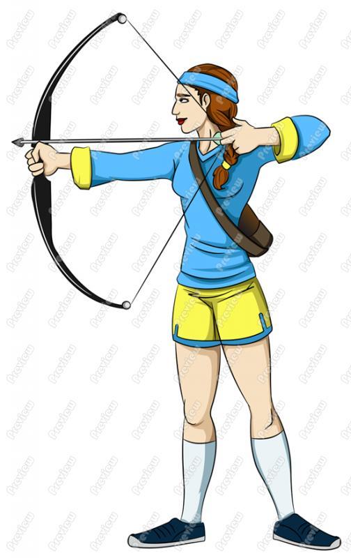 Clip art girl royalty. Archery clipart cartoon