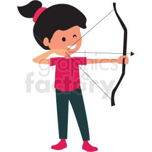 Girl doing royalty free. Archery clipart cartoon