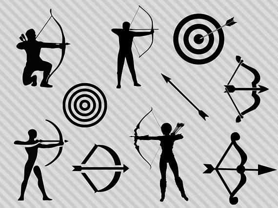 Archery clipart definition. Svg bundle silhouette bow