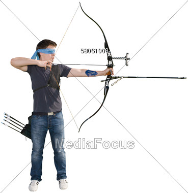 Stock photo blindfold shooting. Archery clipart man