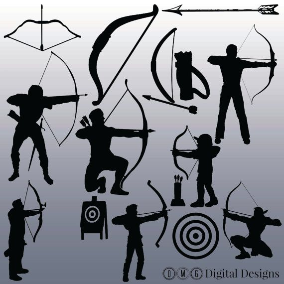 silhouettes digital images. Archery clipart silhouette