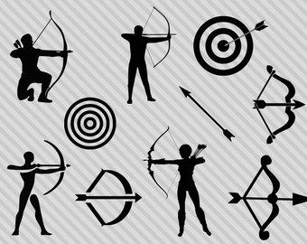 Archery clipart silhouette. Bow arrow svg etsy