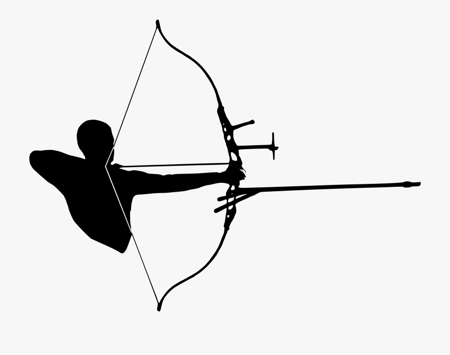 Recurve bow at png. Archery clipart silhouette