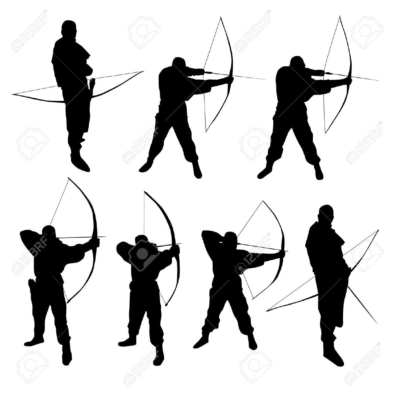 Silhouette . Archer clipart black and white
