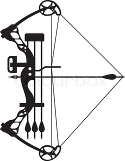 Bow and arrow silhouette. Archery clipart sketch