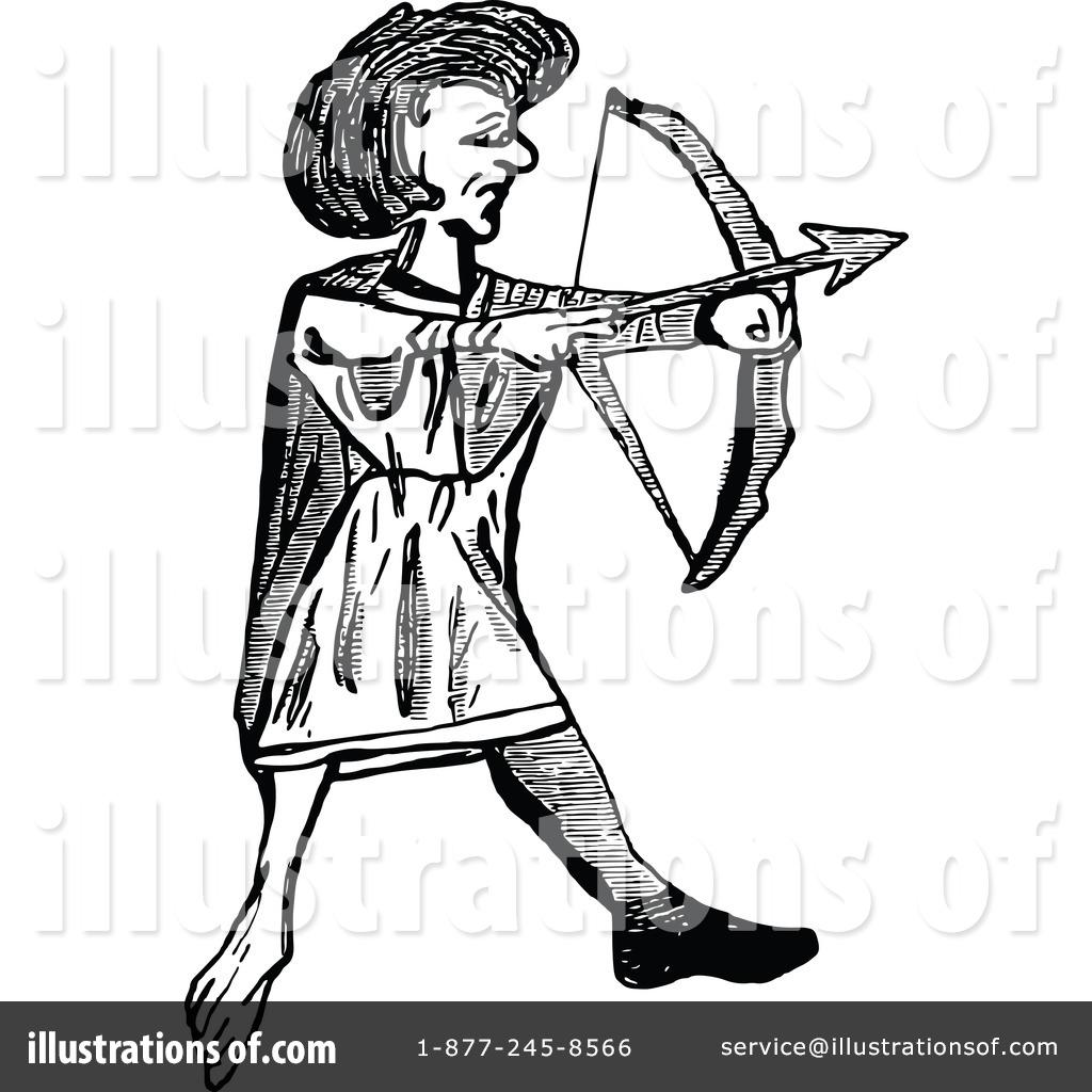 Archery clipart sketch. Illustration by prawny vintage