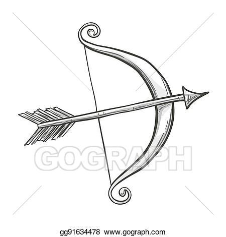 Vector art cupid bow. Archery clipart sketch