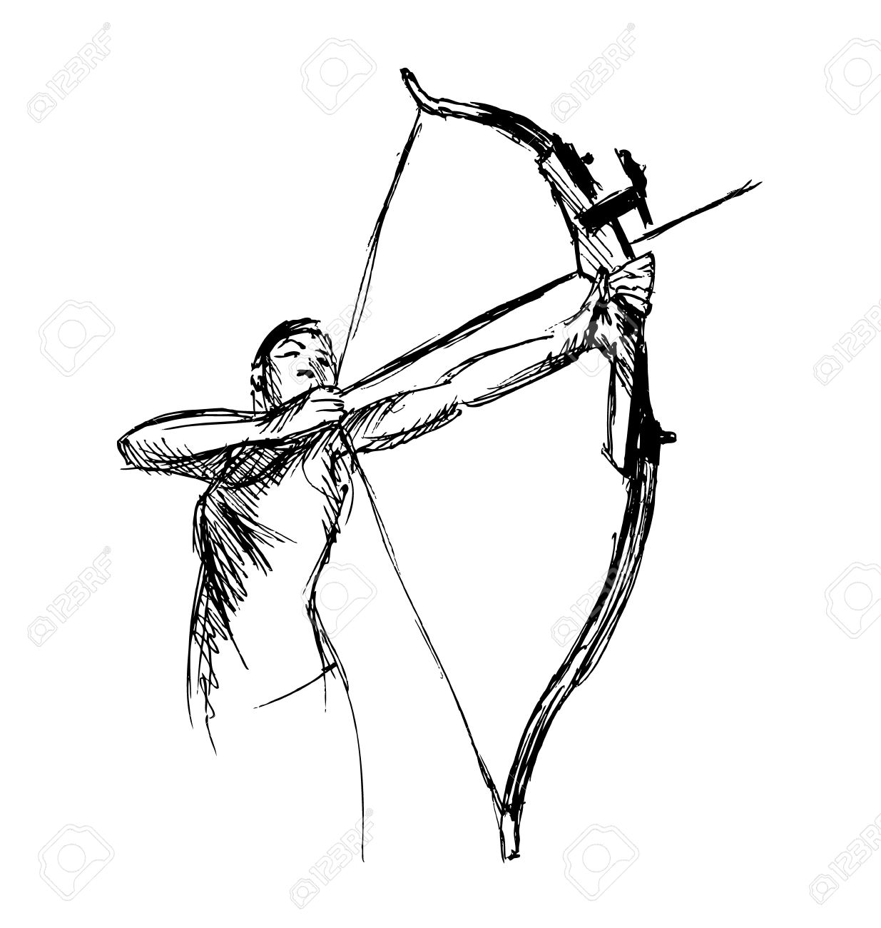 Drawing at getdrawings com. Archery clipart sketch
