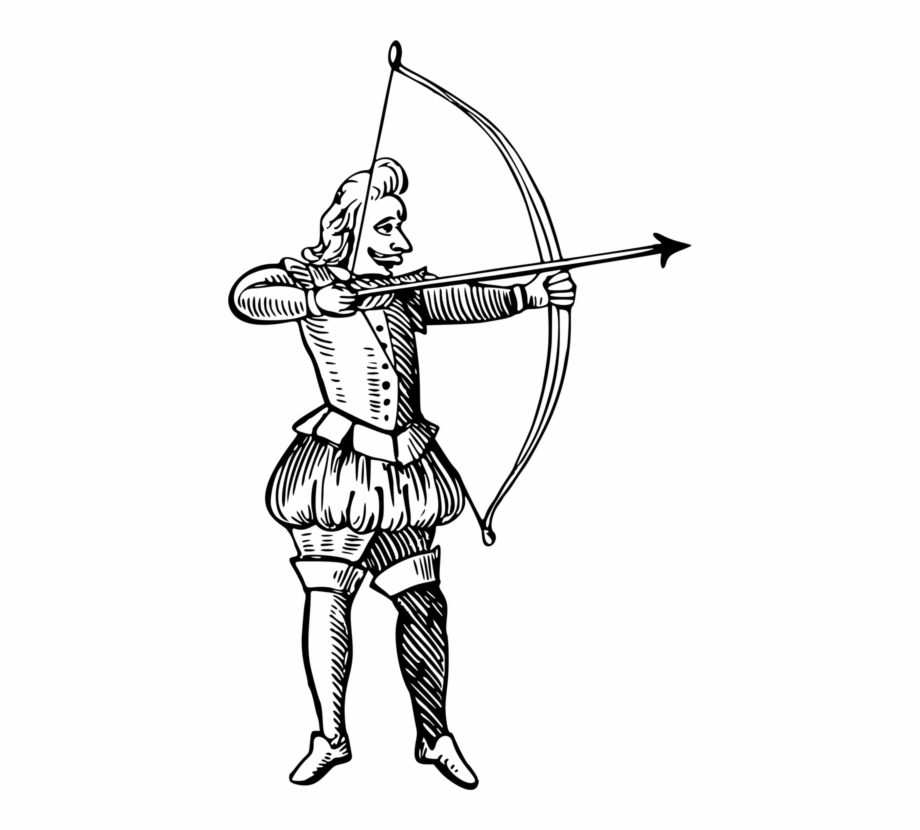 Bow and arrow drawing. Archery clipart sketch