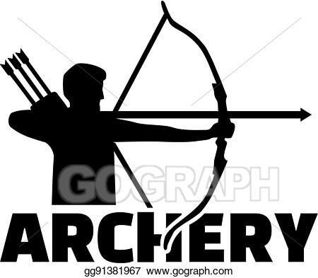 Vector stock silhouette with. Archery clipart sport