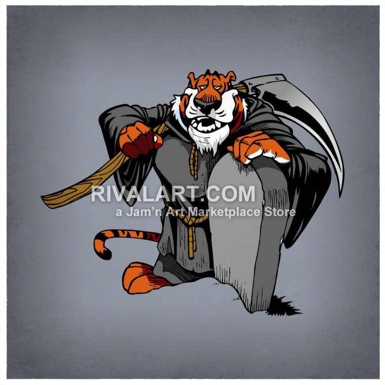Halloween grim reaper standing. Archery clipart tiger