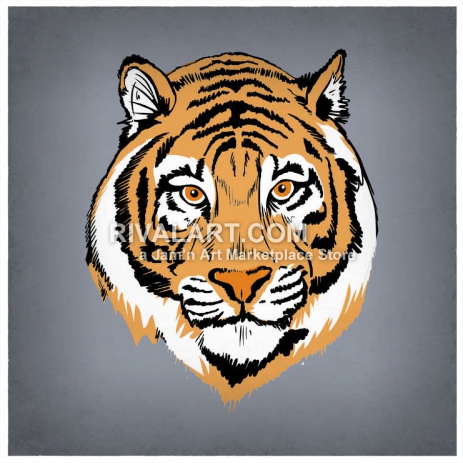 Archery clipart tiger. Cool realistic head in