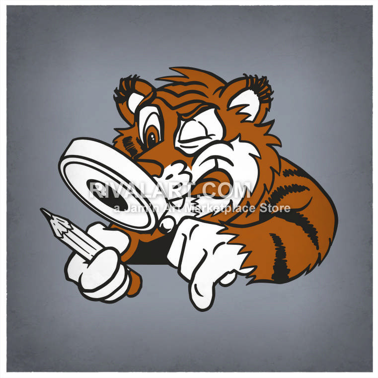 Holding a magnifying glass. Archery clipart tiger