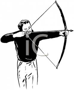 Archery clipart tiger. A black and white