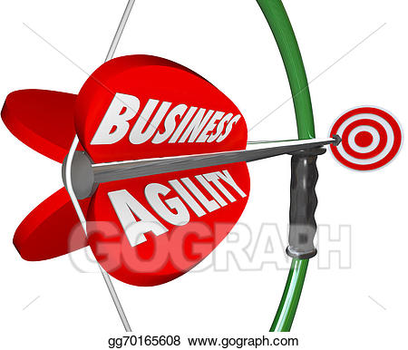 Drawing business agility bow. Archery clipart word