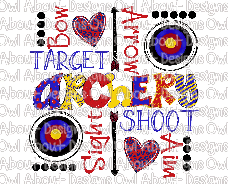 Archery clipart word. Funky digital download art