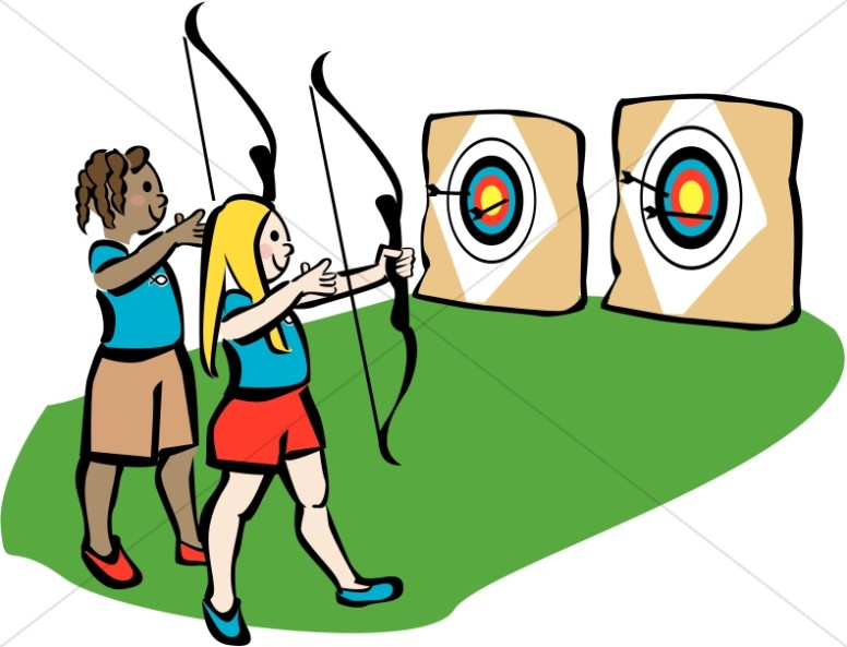 Archery christian summer. Camp clipart youth camp