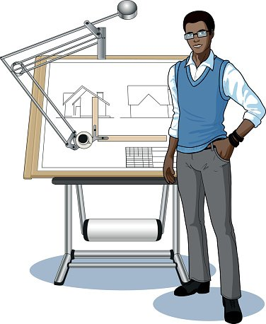 Young african student presenting. Architect clipart