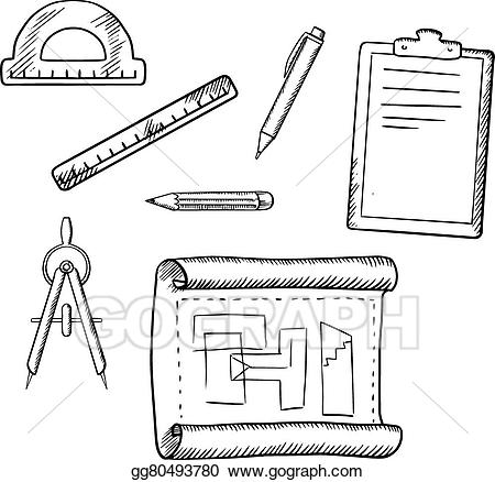 Vector stock drawing and. Architect clipart architect tool