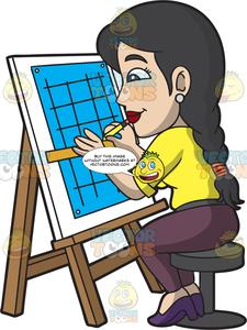 Architect clipart architect woman. A female carefully drafts