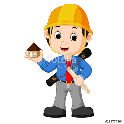 Young man cartoon stock. Architect clipart arkitek