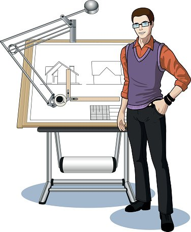 Architect clipart blueprint. Young caucasian student presenting