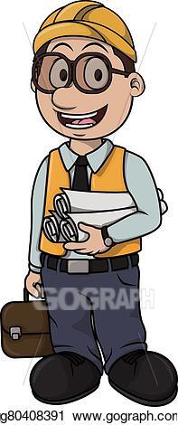 Vector illustration cartoon eps. Architect clipart boy