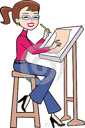 collection of woman. Architect clipart caricature