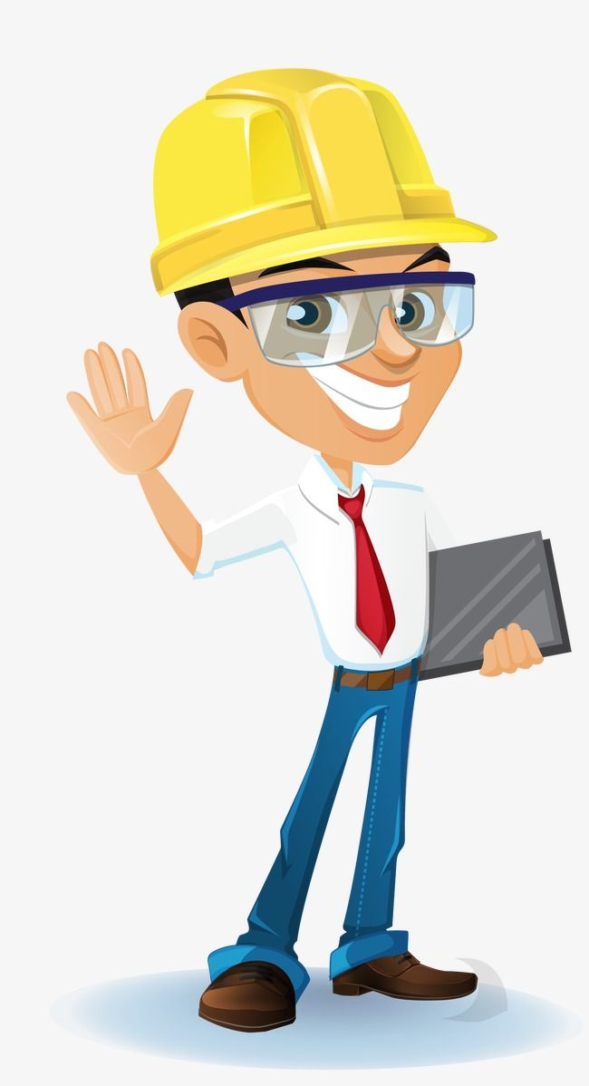 Architect clipart caricature. Vector construction engineer architectural