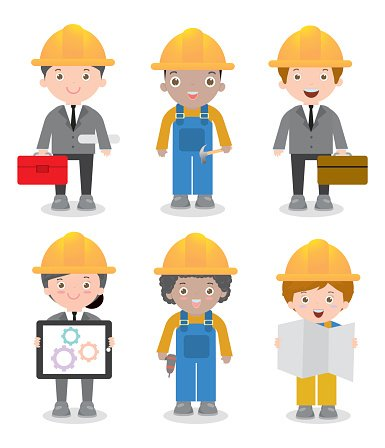Engineer man and woman. Architect clipart cute