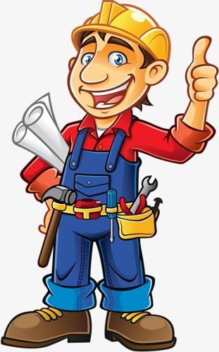 Cartoon male construction site. Architect clipart cute